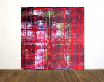 """Red Large Acrylic Painting in Gerhard Richter Technique 100 x 100 cm (40"""" x 40"""") Original Art OOAK Abstract painting"""