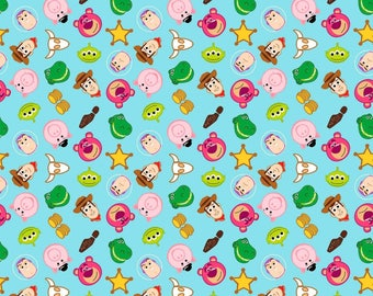 Disney Fabric - Disney Pixar Emojiland Toy Story Character Toss Cotton Fabric by the yard ***SC380***