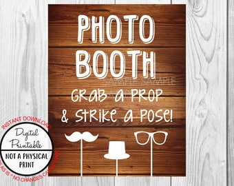 Photo Booth Sign, Selfie Station Sign, Grab a Prop & Strike a Pose Rustic Wood Sign, Wedding Bridal Shower sign , Baby Shower, Printable