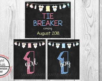 Tie Breaker Pregnancy Announcement Sign, Pregnancy Reveal, Printable, Pink or Blue, Instant Download, Chalkboard Sign, due August 2018