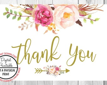 Vintage Gold Floral Boho Wedding Thank You for Coming Card, Flower Boho File, Printable, Watercolor Floral Bojo Card Sign, Baby Shower