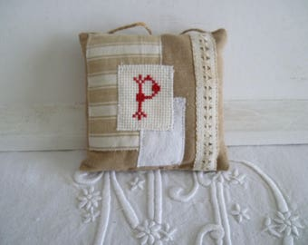 Door cushion initial embroidered cross-stitch - custom fabric Pincushion - Monogram P - decorative pillow ticking.