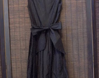 1950s Black Satin Brocade Like Full Skirt Dress Size XS