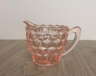 Vintage Pink Glass Creamer