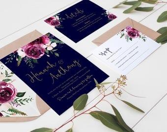 Marsala and Navy Wedding Invitation / Printable Wedding Invitation Set / Bohemian Wedding Invitations / Rustic Floral Wedding Invites