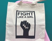 "Tote bag ""fight like a girl"" / Boobie Power / silkscreened canvas / Luka the Pau"