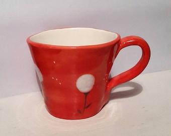 "Red ceramic mug chariot ""snowballs"""