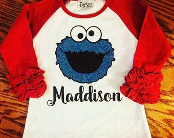 Little girls glitter ruffle raglan. Toddler and infant sparkle raglan with monogram. Personalized tshirt for children.