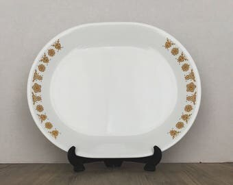 Vintage Corelle, Corelle Serving Platter, Butterly Gold, Golden Butterfly, Corning, Oval Serving Platter, Vintage Corning, Pyrex Butterfly