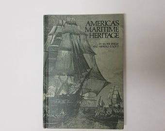 Vintage Hardcover Book America's Maritime History Nonfiction 1975 Naval
