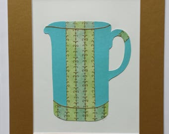 Original paper collage matted for hanging – Pitchers & Bowls Series #37