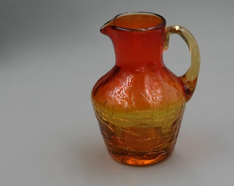 Yellow & Orange  Crackled Glass Pitcher