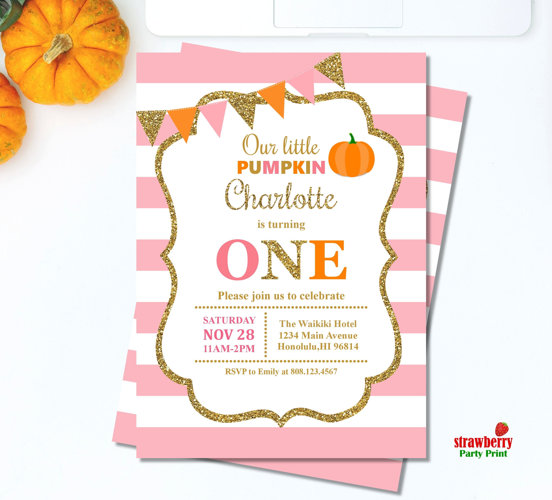 Little Pumpkin First Birthday Invitation. Pink & Gold Pumpkin ...