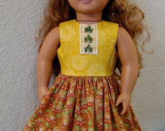 "Summery Floral Print Dress with Jewel Leaves for American Girl and 18"" Dolls"