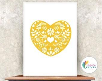 Ochre Scandi Style Heart Print  (ochre) -  Heart Print - Mid-Century Print - Scandinavian Design - Kitchen, Lounge, Hallway, Bedroom print