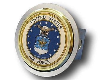 US Air Force Chrome Trailer Hitch Cover Plug