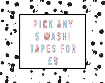 Selection of Any 5 Washi Tape - Mix and Match