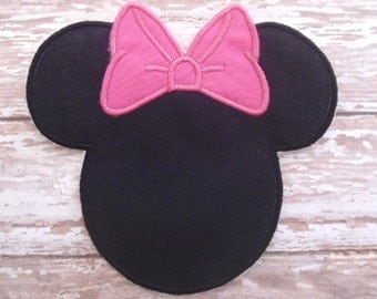 Minnie Mouse Applique - Hot Pink Bow - Embroidered Applique - Iron On - Ready To Ship