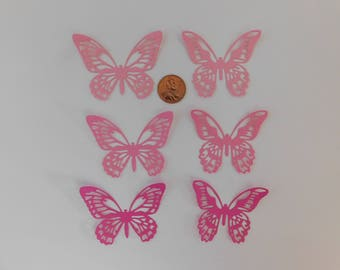 Butterfly Die Cuts 30 small Pink butterflies paper embellishments 3 Shades cardmaking cupcake toppers Wedding Confetti Baby shower confetti
