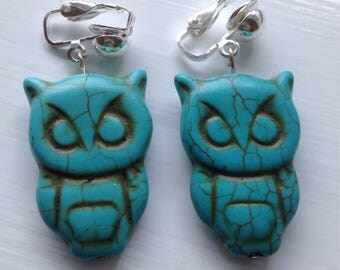 Turquoise Owl Clip-on Earrings