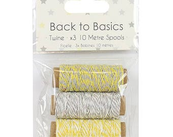 Baby Steps Twine Lemon & Grey Dovecraft Basics 3 Pack Scrapbooking Card Craft