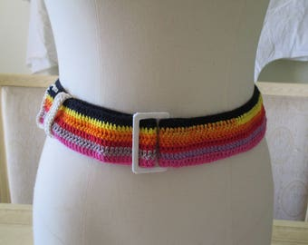 handmade crochet multicolored cotton belt