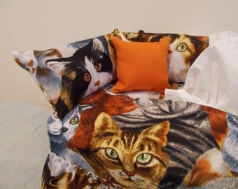 Cat couch tissue box cover