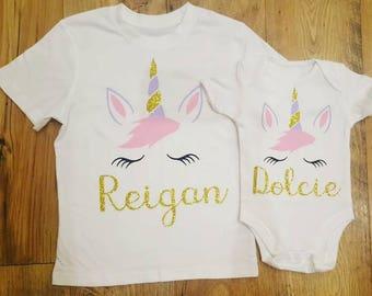 Perdonalised child/ baby unicorn t-shirt or vest
