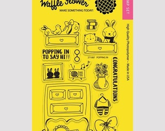"Waffle Flower ""Popping In"" Stamp Set"