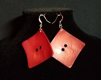 Large Red Square Earrings, Red Square Earrings, Square Earrings, Large Earrings