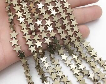 8mm Hematite Stars Beads, Gold Hematite Beads, Hematite Jewelry