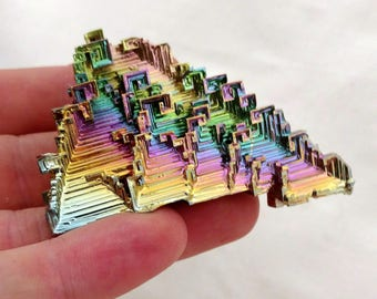 Rainbow Bismuth Crystal 66g Lab Grown Jewelry Display Specimen Educational Metaphysical Metal Healing Stone