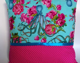 Rose Octopus cushion, turquoise and pink cushion, Tokyo Milk fabric