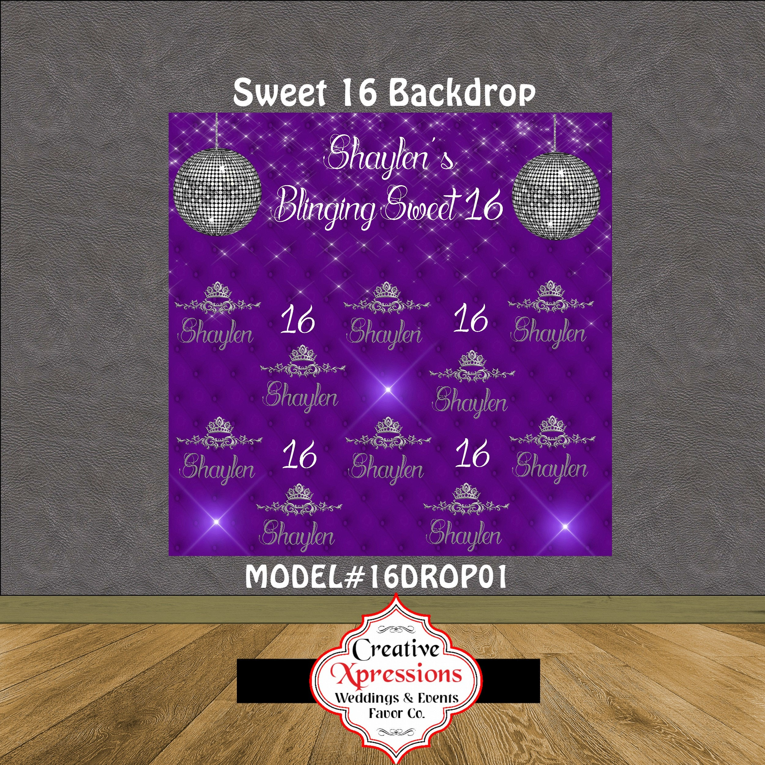 Very Step and Repeat Sweet 16 Backdrop | Sweet 16| Diamonds Backdrop  ZC14