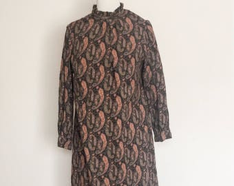 1980s Tunic Style Paisley Dress Vintage