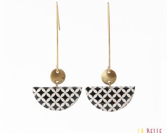 Earrings hook half moon pattern black and white mosaic graphic