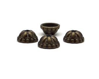 Bead caps 8 mm - antique bronze cone 8 Cup 40 mm - Cup Tibetan - A217