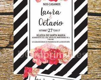 Digital printable, English-Spanish, Kate Spade wedding invitation.