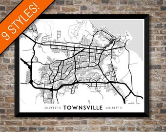 Every Road in Townsville map art   Printable Townsville map print, Townsville print, Townsville poster, Townsville art, Queensland map print