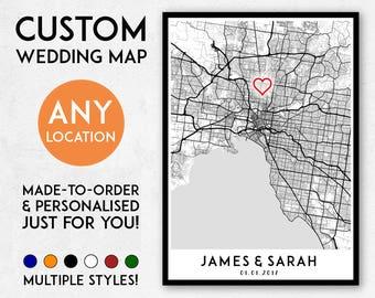 Custom wedding map gift, Valentines gift, wedding idea, Custom wedding gift idea, Anniversary gift, Wedding gift map, Engagement gift ideas