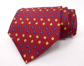Kostas Handmade Designer Tie 100% Silk Made in USA Asheville NC Vintage Necktie Red Blue Yellow Mini Geometric Pattern