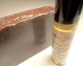 Amber Musk Perfume Gift Set - Organic Perfume Oil, Cold Process Soap - Shea Butter, Organic Jojoba - Natural Fragrance - Vegan - Handmade