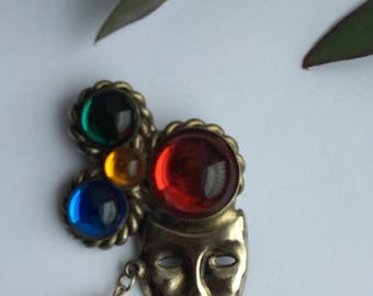 80s silver tone pierrot clown mask face brooch jewelled with coloured headress