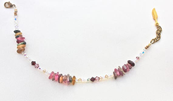 Bracelet gemstones wedding: tourmaline and swarovski