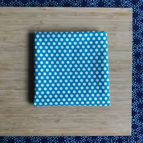 """Premium Cotton Fabric Fat Quarter - Designer Fabric - Quilting Fabric - Fat Quarters 18"""" x 21"""" Turquoise Polka Dot Print"""