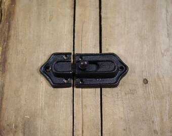 Two Piece Spring Loaded Door or Gate Latch Hardware in Black