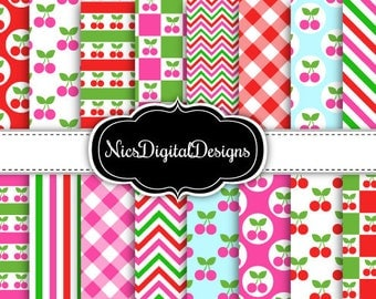 Buy 2 Get 1 Free-16 Digital Papers. Cherry Mixed Patterns (3C no 5) for Personal Use and Small Commercial Use Scrapbooking