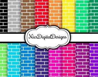 Buy 2 Get 1 Free-16 Digital Paper. Brick Wall in Rainbow Colours (2F no 2) for Personal Use and Small Commercial Use Scrapbooking