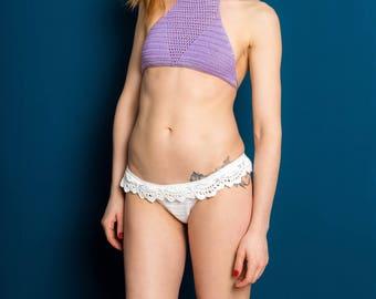 Crochet bikini top, halter top