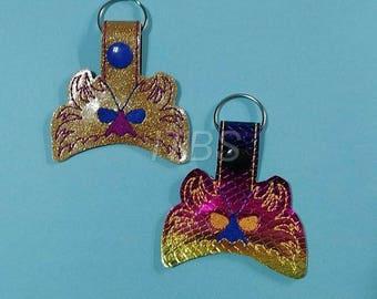 Mardi Gras feather mask key fob